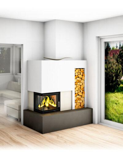 Kachelofen modern mit Eckfenster und Holzlager