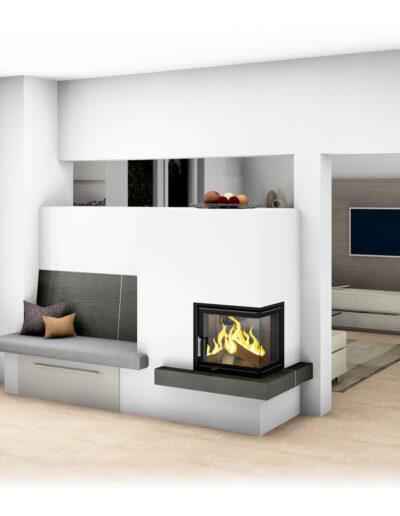 Moderner Kachelofen als Raumteiler mit Ofenbank