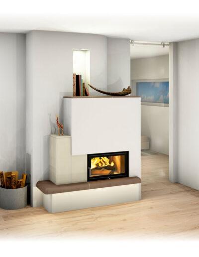 Moderner Landhaus-Kachelofen mit Sichtfenster