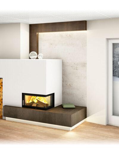 Moderner Kachelofen mit Eckfenster, indirekter Beleuchtung und Wandgestaltung