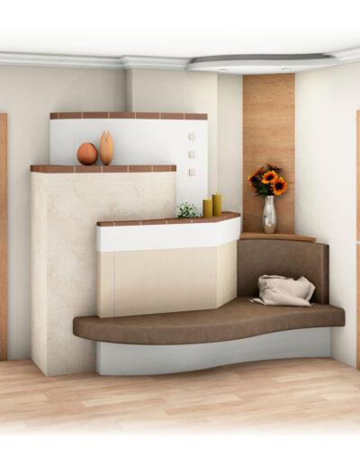 Kachelofen Landhaus-Stil mit Ofenbank