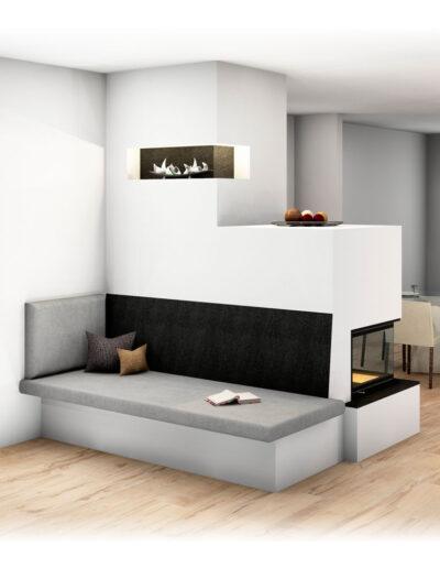 Moderner Kachelofen mit Eckfenster, Großkeramik und Liege, indirekte Beleuchtung