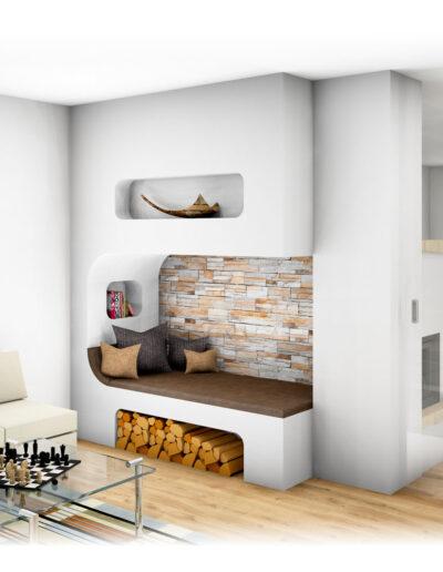Kachelofen mit integrierter Ess-Ecke und Sitzhöhle