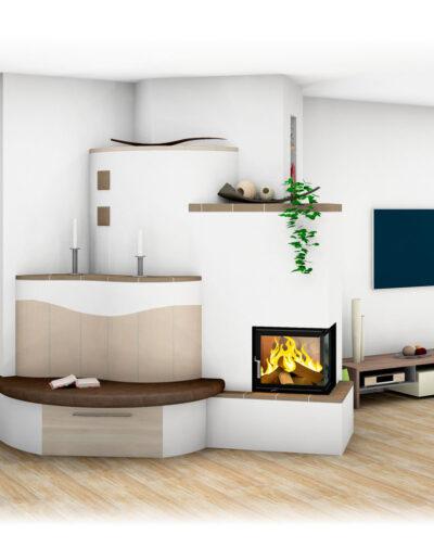 Landhaus-Kachelofen mit Ecksichtfenster und Ofenbank