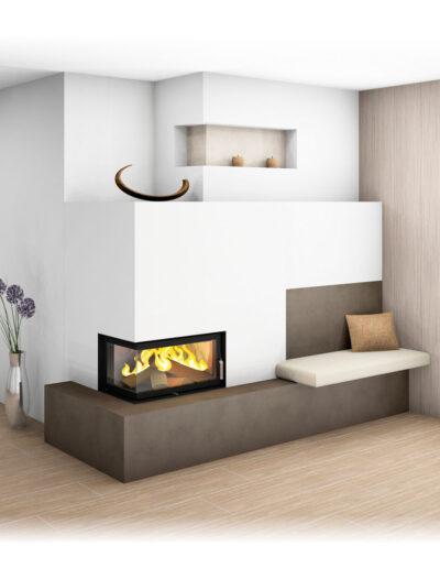 Moderner Kachelofen mit Großkeramik, Eckfenster und Ofenbank