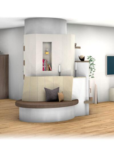 Landhaus-Kachelofen als Raumteiler mit Sitzbank