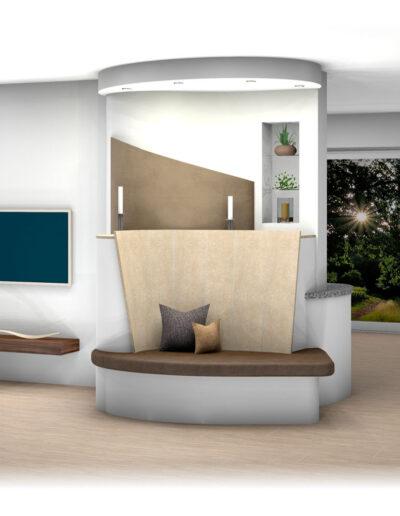 Landhaus-Kachelofen als Raumteiler mit Nischen und Ofenbank