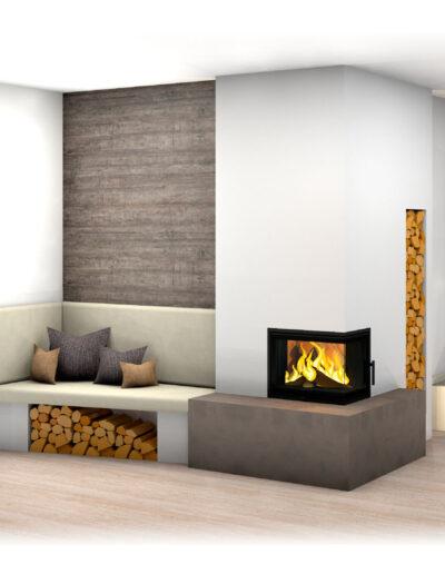 Kachelofen mit Eckfenster, schlichtes modernes Design inkl. Wandverkleidung und Holzlager