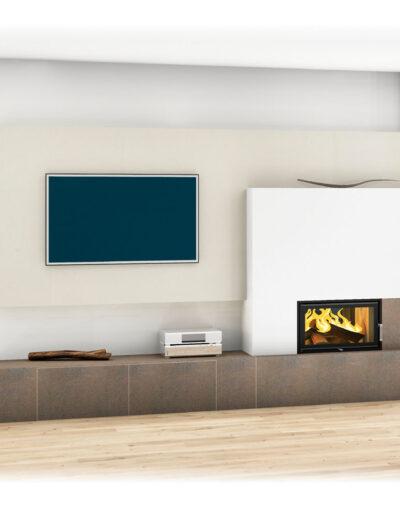 Kachelofen modern, schlichtes Design mit TV-Wand