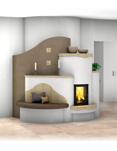 Landhaus-Kachelofen mit Sichtfenster mit Sichtfenster, Ofenbank und Kummer-Keramik