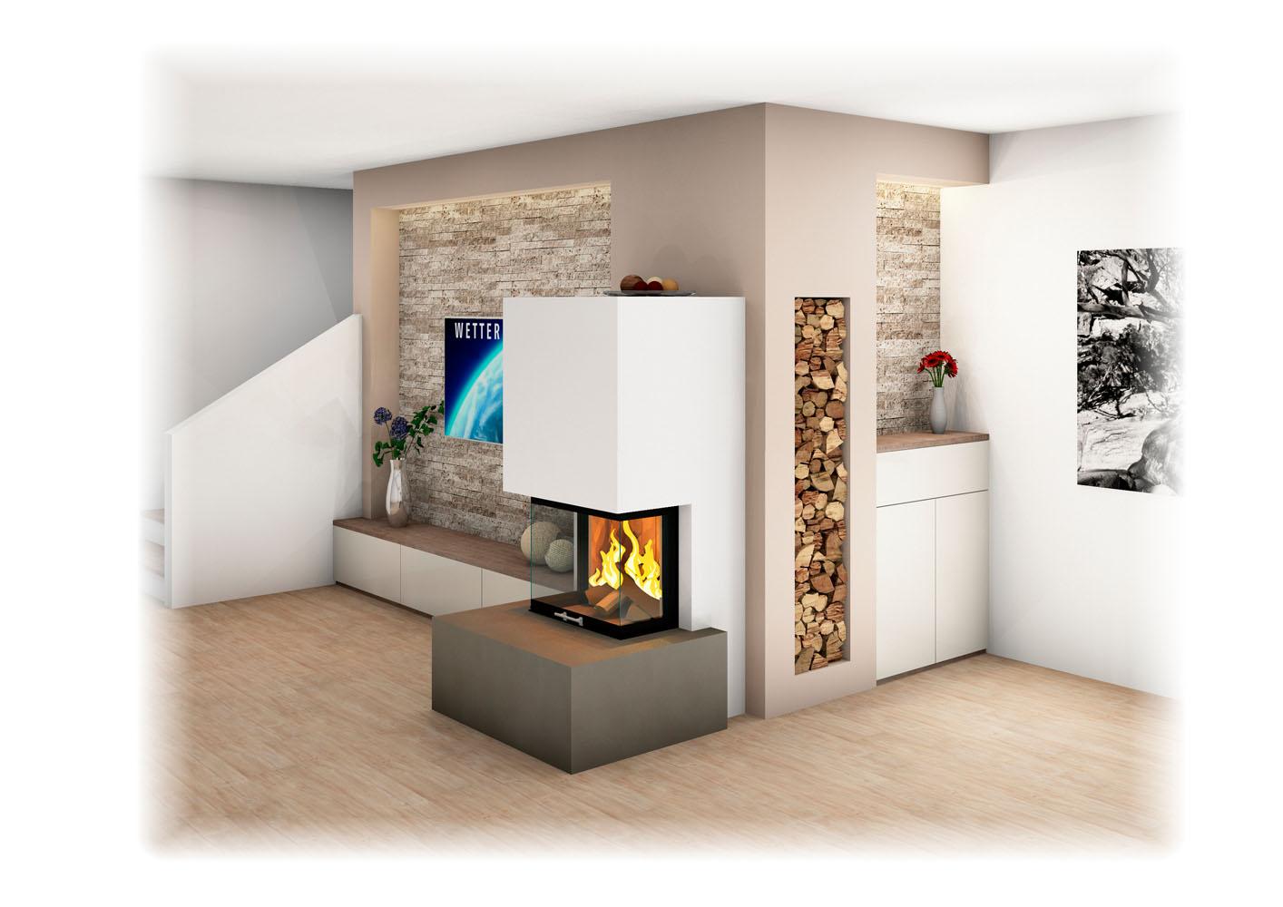 Heizkamin Modern heizkamin mit ofenbank sichtfenster großkeramik unterschiedliche