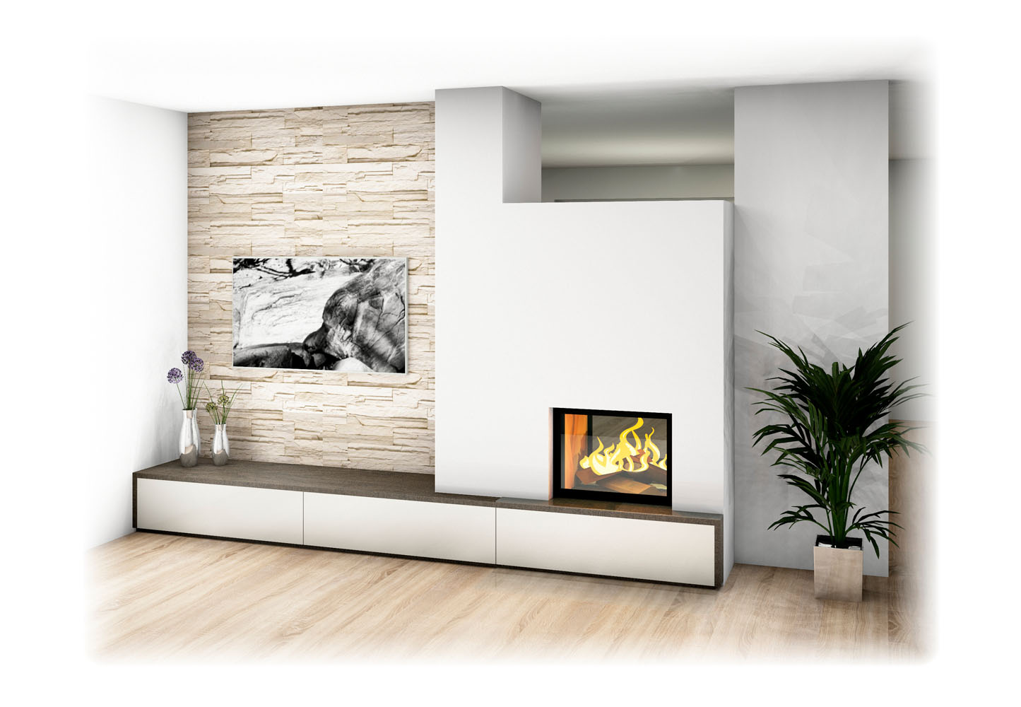 Heizkamin Modern Durchsichtgerät Mit Tv Wand
