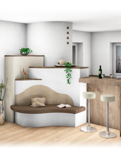 Kachelofen Landhaus Modern mit Bank