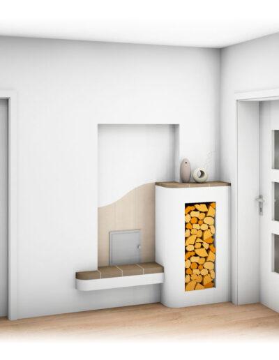 Kachelofen Landhaus mit Kachelofentür