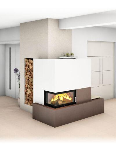 Kachelofen Modern mit Ecksichtfenster und Ofenbank
