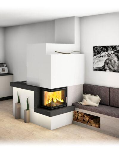 Kachelofen Modern mit Ecksichtfenster und Ofenbank_