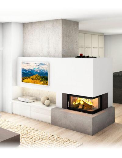 Kachelofen Modern mit Ecksichtfenster und TV Wand