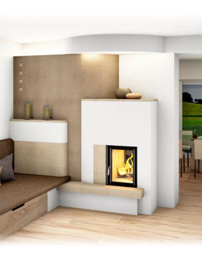 Kachelofen Modern mit Sichfenster und Liegefläche
