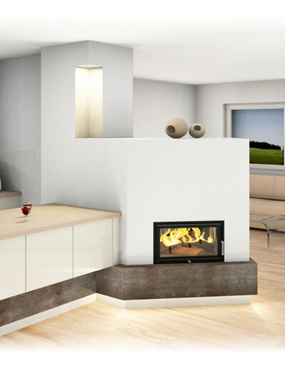 Kachelofen Modern mit Sichtfenster und Küchenanbau