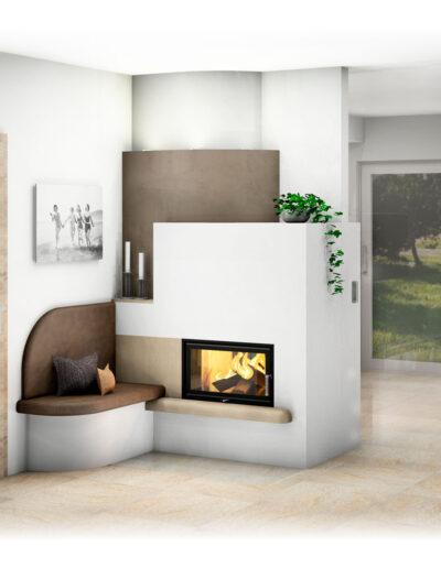 Kachelofen Modern mit Sichtfenster und Ofenbank