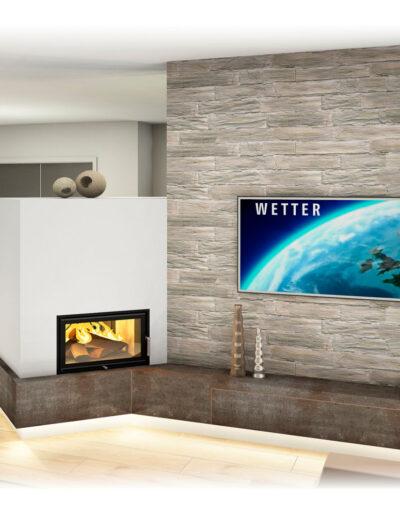 Kachelofen Modern mit Sichtfenster und TV Wand 2