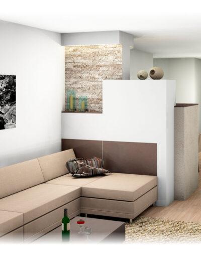 Kachelofen mit Couch
