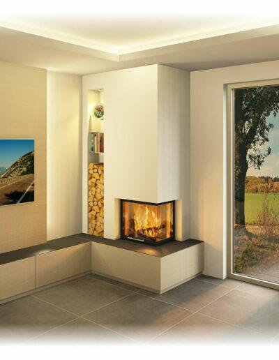 Heizkamin Raumhoch - mit Eckfenster und TV Wand