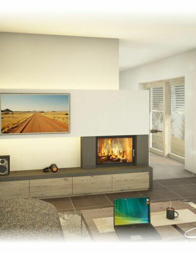 Heizkamin - als Raumteiler mit TV Wand