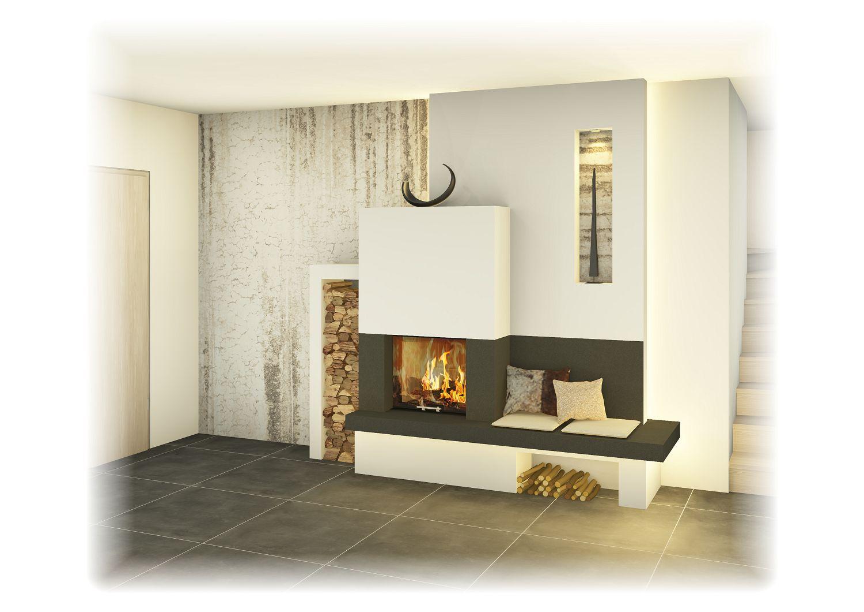 Heizkamin Mit Ofenbank Sichtfenster Grosskeramik Unterschiedliche Designs Moglich
