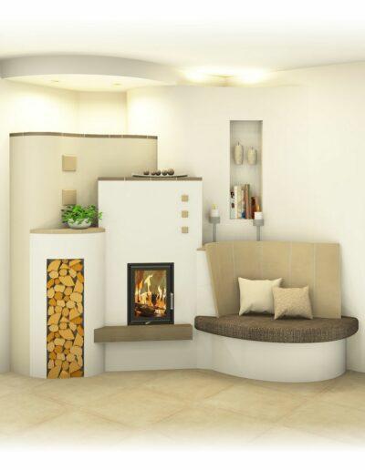 Kachelofen Landhaus mit Bank und Deckengestaltung