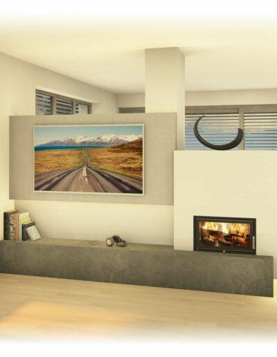 Kachelofen - Modern als Tunnelofen mit TV Wand