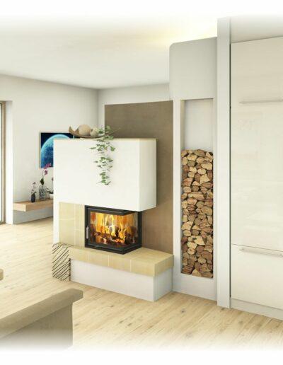 Kachelofen - Modern mit Eckfenster und Handkeramik