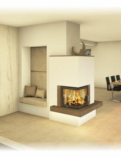 Kachelofen - Modern mit Ecksichtfenster und Sitznische