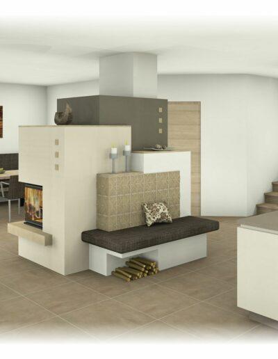 Kachelofen - als Raumteiler mit Tapetenkacheln und Bank