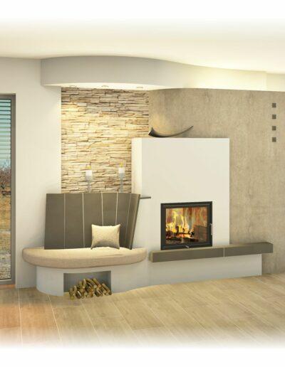 Kachelofen - mit Sichtfenster, Rückenlehne und Deckengestaltung