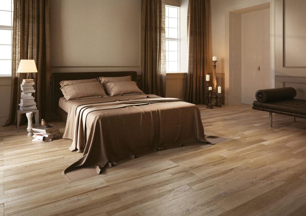 Holzoptik-Fliesen im Schlafzimmer