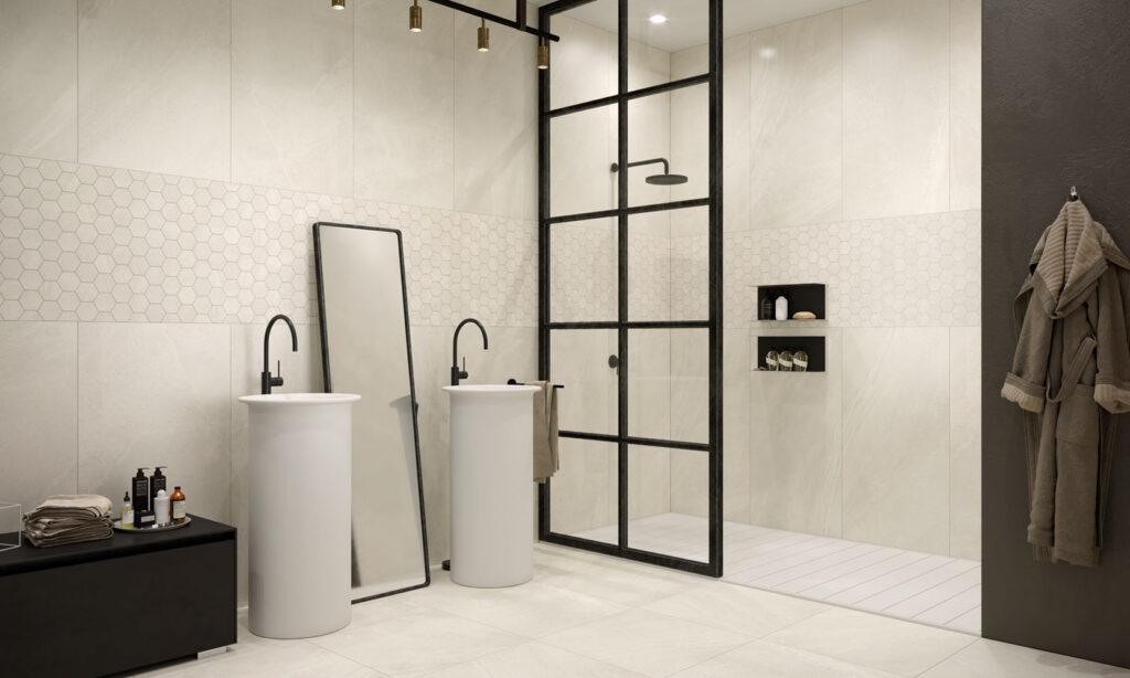 Minimalistisches Badezimmer mit XL- und Mosaik-Fliesen