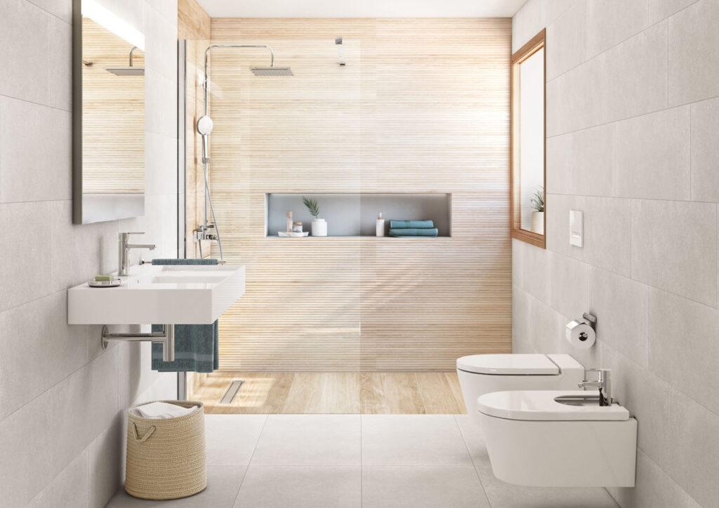 Duschkabine mit Holzoptikfliesen