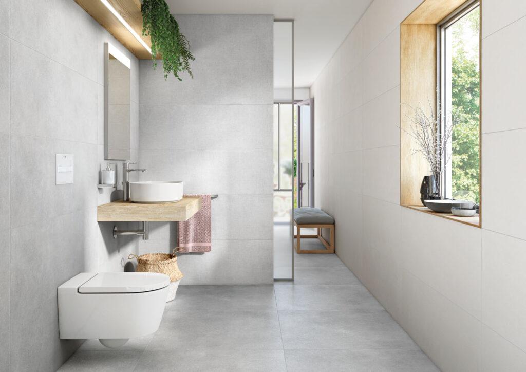 Minimalistisches Badezimmer im Beton-Look