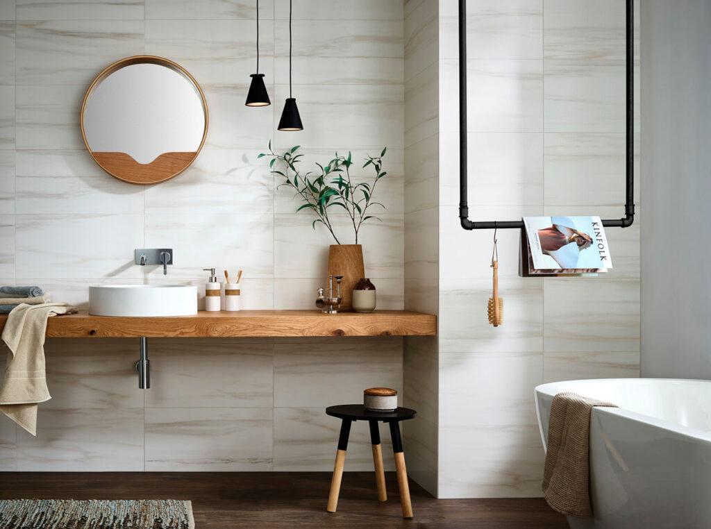 Marmor im Badezimmer - mediterran