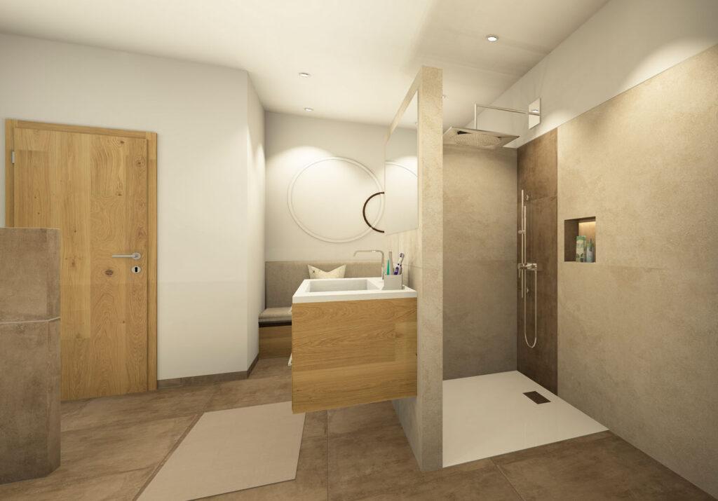 Begehbare Dusche gemauert mit Duschtasse und Nische_Fliesen Marazzi