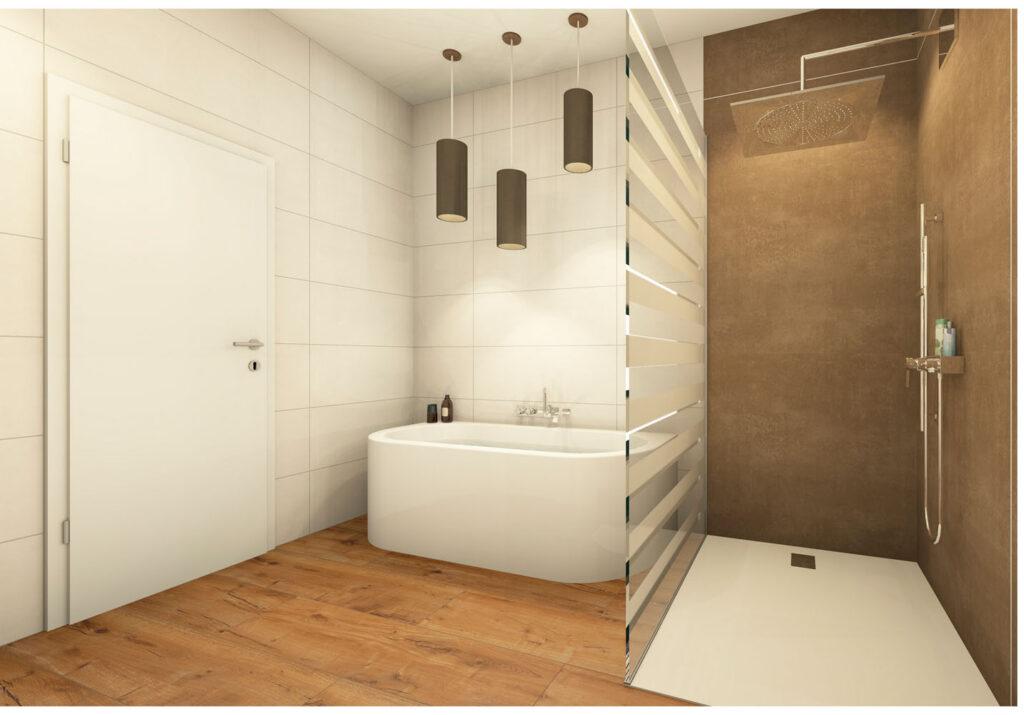 Nassbereich mit Duschtasse und Glaswand_Großformat-Fliese 30x120 Del Conca