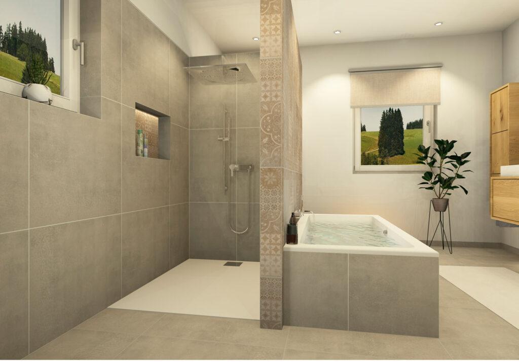 Walk In Dusche gemauert mit Duschtasse Marazzi-Fliesen und Nische